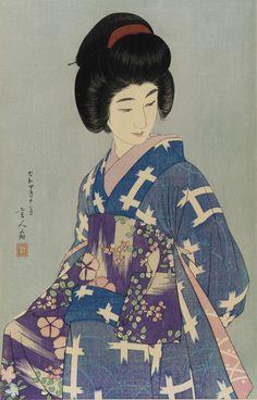 "vintage geisha art: Torii Kotondo (Japanese, 1900 - ""Preparing her Sash"" 1929 (Showa era) Art Geisha, Hokusai, Japanese Woodcut, Japan Painting, Art Asiatique, Art Japonais, Tatoo Art, Japanese Prints, Japan Art"