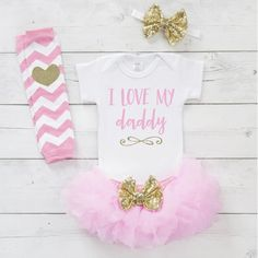 Fathers Day Girl Outfit, I Love My Daddy Shirt, Father's Day Baby Clothes, 1st Father's Day Gift from Daughter 013S #1st_fathers_day #Baby #baby_girl_outfit