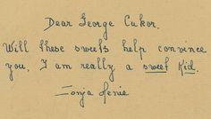 An handwritten note to George Cukor from Sonja Henie