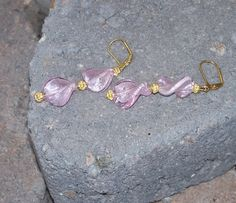 Pink Glass Earrings Twisted Beads Holiday by ButtercupsWhatEvas