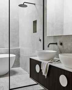 Bathroom tiles with grey tiles, black framed glass. Bathroom tiles with grey tiles, black framed glass. Black Tile Bathrooms, Small Bathroom, Master Bathroom, Glass Bathroom, Stone Bathroom Tiles, Natural Stone Bathroom, Remodled Bathrooms, Black Vanity Bathroom, Colorful Bathroom