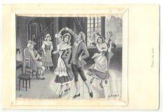 Vintage SILK Postcard DANCERS Musician  by FascinatingHobbies