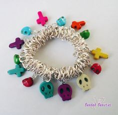 Charm Bracelet Cross Skull Howlite Gemstone by SBeadedbeauties, £9.00