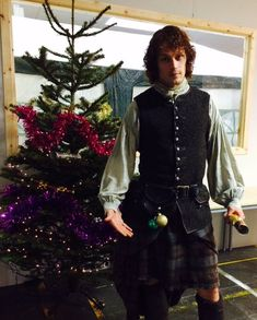 Sam Heughan shared this Christmas picture on his twitter Sam Heughan