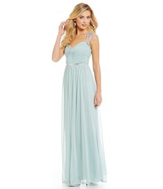 Seafoam:Adrianna Papell Sequined Cap-Sleeve Gown