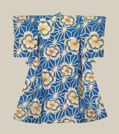 "Meisen Kimono, Late Taisho to early Showa (1920-1940). A meisen silk kimono with bold flowers and geometric patternwork. Horizontal metal-insert highlights. 49"" from sleeve-end to sleeve-end x 58"" height.  The Kimono Gallery"
