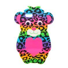 Coque pour téléphone à motif ours imprimé léopard arc-en-ciel pour iPhone 6