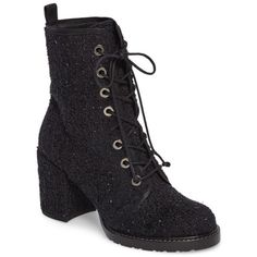 Women's Stuart Weitzman Climbing Combat Boot ($585) ❤ liked on Polyvore featuring shoes, boots, black boucle, black platform boots, black army boots, black military boots, black block heel boots and black shoes