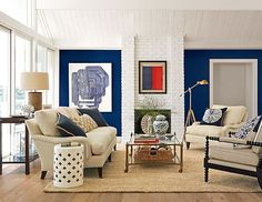 Maybe a bit too-sophisticated ... but a good palette. All neutral furniture and a pop of color focal wall