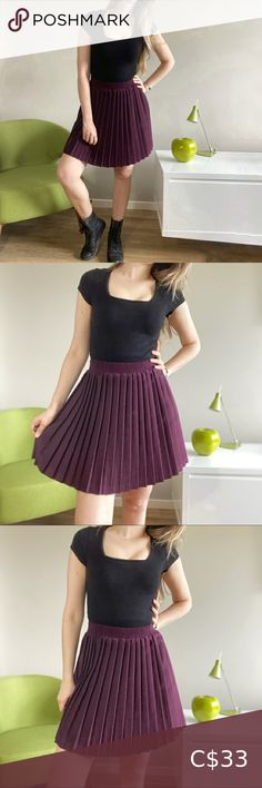 "Vintage pleated burgundy skater school mini skirt Vintage pleated purple/ burgundy mini skirt. Elastic waist. Cute skater circle skirt style with pleats. Good vintage condition slight pilling to material. See measurement for size. Model has size 27"" waist. Vintage Skirts Mini Skirt Fashion, Plus Fashion, Fashion Tips, Fashion Trends, Vintage Skirt, Size Model, Elastic Waist, Vintage Ladies, Burgundy"