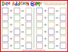 Dice Addition MATH Game for Kids – Free Printable! The Scrapbooking Housewife: Dice Addition Game for Kids – Free. Easy Math Games, Educational Math Games, Free Math Games, Math Board Games, Learning Games For Kids, Printable Math Worksheets, Math For Kids, Fun Math, Dice Games