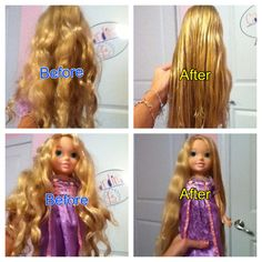 The results of the fabric softener doll hair spray.  ( 2 tbsp's of fabric softener and 4 or 6 tbsp's of water)