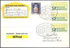 """Germany, ATM 17.10.1986, Bund, 10 Pfg. im 3er-Streifen, mit Beifrankatur auf portogerechtem Brief mit Sonderstempel """"50 Jahre Tag der Briefmarke"""". Price Estimate (8/2016): 15 EUR."""