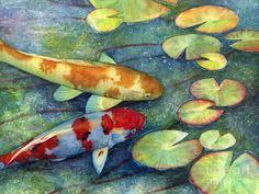 Koi Garden Painting by Hailey E Herrera