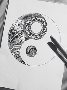 Yin yang and zentangle Hipster Drawings, Tumblr Drawings, Doodle Drawings, Easy Drawings, Girl Drawings, Pencil Drawings, Flower Drawings, Drawing Flowers, Creative Sketches