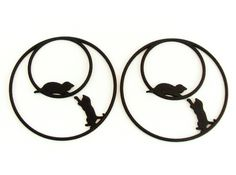 Playing Cats Hoop Earrings with 50mm diameter. #earrings #hoopearrings #catearrings