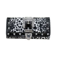 ExoticGlitter LYDC Women Purse L076 Black White Leopard Print Boxed... ($14) found on Polyvore