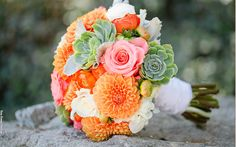 Like the succulents and type of flowers, but not the orange