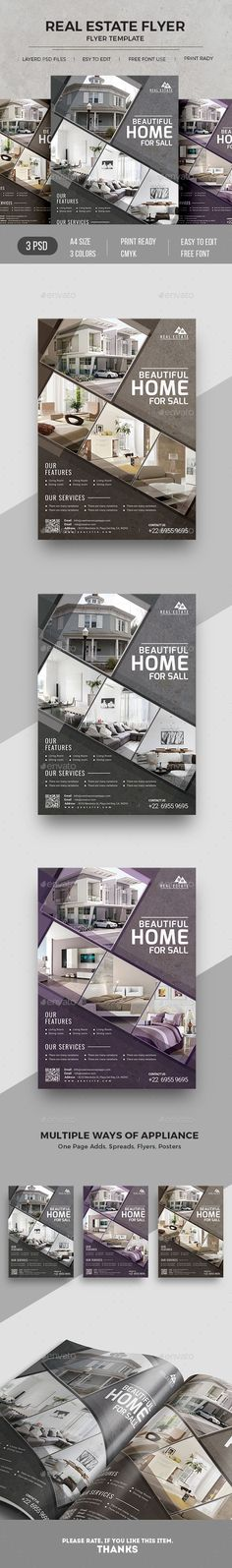 Real Estate Promotion Flyer. 3 Different color version for matching your branding color.
