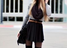 Striped long sleeved top, infinity scarf, black skirt, brown belt, sheer tights and thigh high boots.