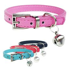 2016 Hot item! Fashion Faux Leather Pet Collar Cat Puppy Dog Bell Pendant Buckle Neck Strap #Affiliate