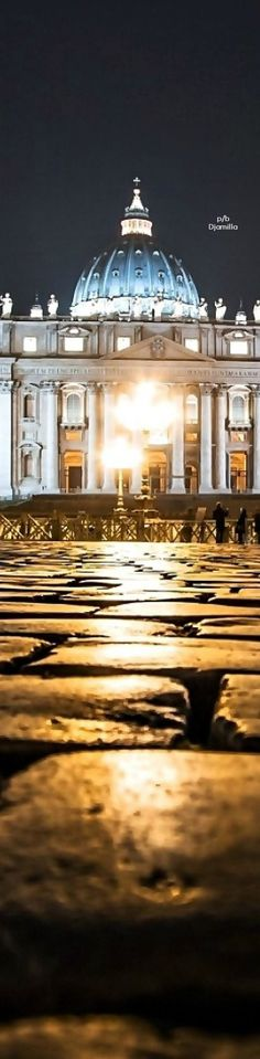 Vatican, City at Night, Rome, Italy, Basilica of St. Peter