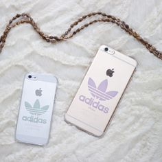 Transparent hard phone cover case with Adidas logo for iPhone