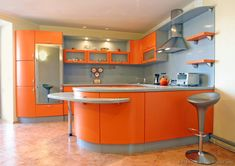 Some Orange Kitchen Theme Ideas For Your Kitchen Kitchen interior design should be perfect and attractive and kitchen colour should match according to the interior and cabinets. Here are some orange kitchen ideas for you. Bright Kitchen Colors, Colorful Kitchen Decor, Bright Kitchens, Cool Kitchens, Kitchen Cabinets Orange, Wooden Kitchen Cabinets, Kitchen Furniture, White Cabinets, Kitchen Flooring
