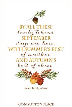 September Quote Free Printables | Helen Hunt Jackson | Two original printables to welcome September. Free and ready to download instantly for DIY wall art!