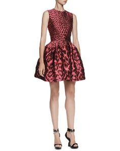 B2S0B Alexander McQueen Leopard Brocade Pouff Dress