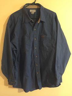 Carhartt Original Fit Blue Button Down Shirt Long Sleeve Men's Size 2XL #Carhartt #ButtonFront