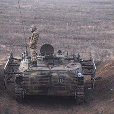 Ukrainian BMP-1P with cage armor.
