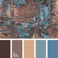 Color palette No. 2031 - The combination of cold brown and slate blue will look original in the hi-tech interior design. Scheme Color, Colour Pallette, Colour Schemes, Color Combos, Vintage Color Schemes, Earthy Color Palette, Color Patterns, Design Seeds, Colour Board