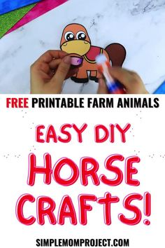 Here's an easy way to have fun with farm animals by crafting your own horse craft. This free printable horse craft template is an awesome way to learn the letter H or even as a homemade farm animal craft collection. Grab your free printable horse craft template today & watch the joy on your toddlers & preschoolers! Zoo Crafts, Farm Animal Crafts, Animal Crafts For Kids, Horse Crafts, Fun Diy Crafts, Paper Crafts For Kids, Crafts For Kids To Make, Farm Animals, Printable Crafts