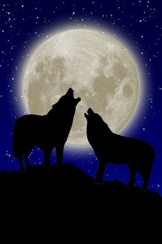 Wolves: Wolves howl at the Full Moon in the night sky.