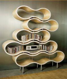 Wavy shelves by Pilot Design. Bookcase.