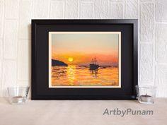 Sail Boat  Abstract Art Print by ArtbyPunam  by ArtbyPunam on Etsy