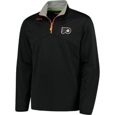 Reebok Philadelphia Flyers Black Center Ice Quarter-Zip Speedwick Pullover  Jacket 4c310867c
