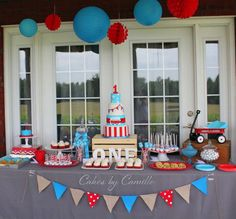 Red, white and blue little red wagon birthday party! See more party planning ideas at CatchMyParty.com!