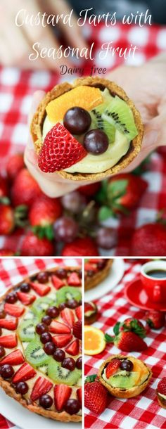Gorgeous Custard Tarts with seasonal fruit - dairy-free deliciousness! Check out our dairy-free custard, add seasonal fruit and a pastry base - Voila! Dairy Free Custard, Custard Tart, Fruit In Season, Fabulous Foods, Dairy Free Recipes, Kitchen Recipes, Recipe Box, Food Processor Recipes, Sweet Treats
