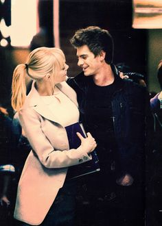 Emma Stone and Andrew Garfield, I'm a fan of them in the new Spiderman and they are just pretty dang cute.