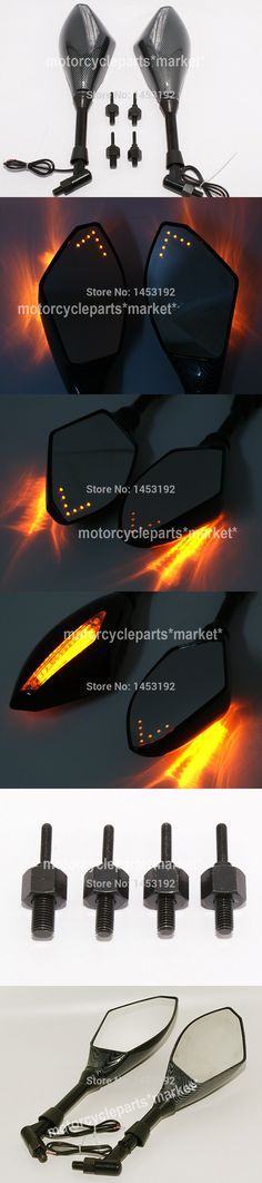 Motorcycle Parts Indicator Rearview Side Mirrors & Integrated LED Turn Signals Fit For Street bikes Cruiser Scooters Custom