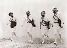 1942, Army nurses training for Gas Warfare in World War II.