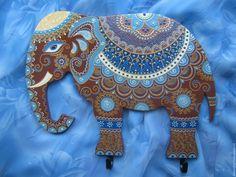 Купить Сказочный Слон Интерьерное панно с крючками - яркий, point-to-point, точечная роспись