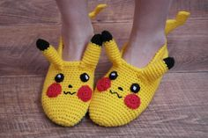 Pikachu pokemon, electric pokemon Hand knitted, warm, long-lasting and amazingly cozy slippers. We create vibrant images that will impress everyone, and give you another way to show your friends who you are. Perfect little gift for your loved ones! Enjoy these classic socks! Get them all! We hand knit our slippers with 50% wool to make them last longer and still be very warm. Its suitable for for boys and girls sizes. (any size made to order) This cozy weather requires some major cuddling…
