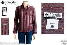 """*PERFECT* Women's Columbia Sportswear """"Canyon Crinkle Stripe Shirt Dobby Stretch Cotton"""" Long Sleeve, Button-up    *Bidding starts at only $4.99 vs Retail $50*     Size: Women's M   Color(s): Purples, Reds    Uses: Casual Leisure Camp Hike Trail Backpack Adventure Travel Everyday"""