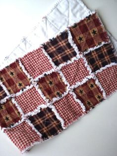Raggy Prim Table Runner Primitive Rag Quilted by RagsandRibbons