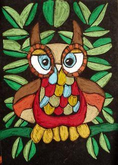 oil pastel owls on black