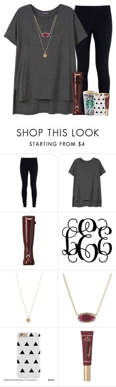 """""""Anybody else getting a lot of rain where they live?"""" by abbypj ❤ liked on Polyvore featuring NIKE, Violeta by Mango, Hunter, ASOS, Kendra Scott and Too Faced Cosmetics"""