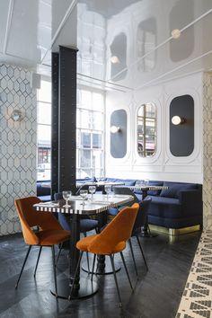 C'est le dernier-né de la collaboration entre Adrien Gloaguen et la décoratrice Dorothée Meilichzon. Biscornu, tout en angles et recoins, l'hôtel Panache a d'ores et déjà les cartes en main pour devenir la nouvelle planque à la mode. Le restaurant de l'Hotel Panache.